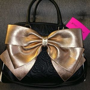 New Betsey Johnson rose gold bow large purse